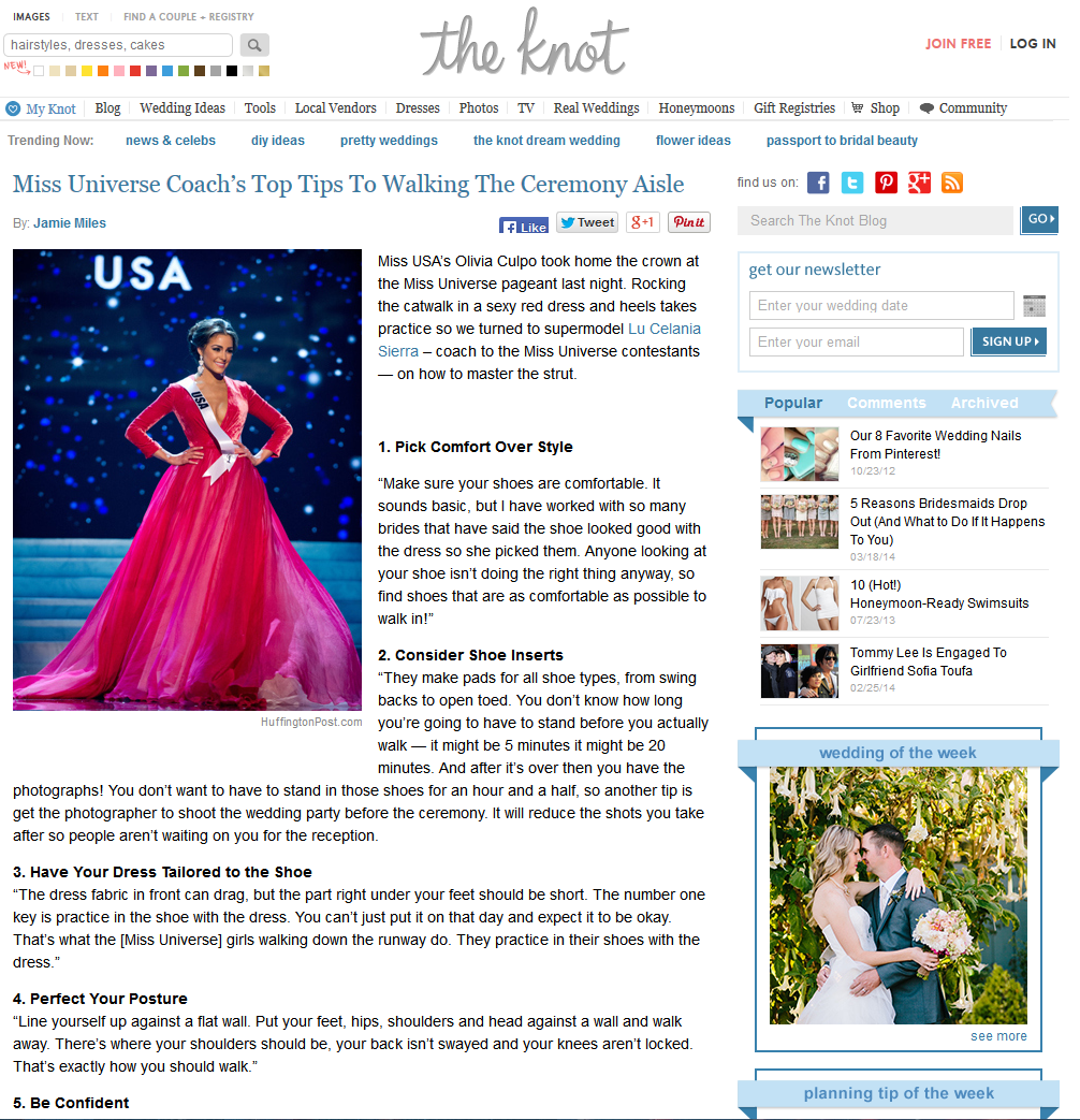 Miss Universe Coach's Top Tips To Walking The Ceremony Aisle