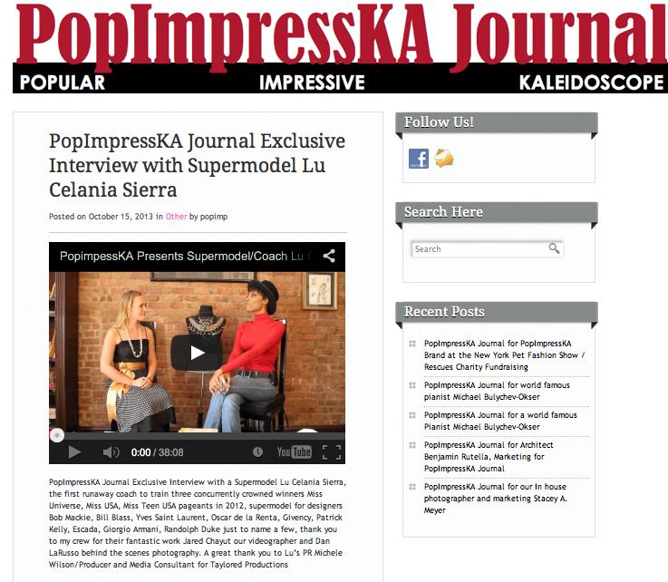 PopImpressKA Journal Exclusive Interview with Supermodel Lu Celania Sierra