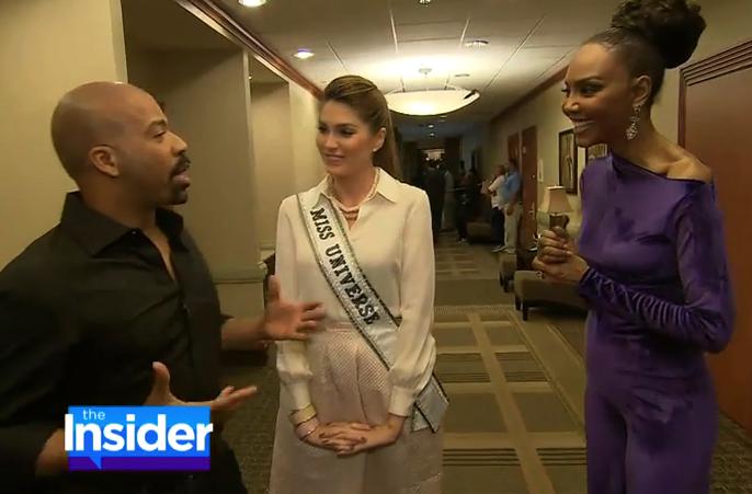 Lu Sierra on The Insider w/ Lloyd Boston at Miss Universe